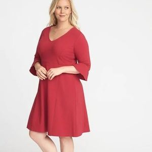 Old Navy Flute-Sleeve Fit & Flare Plus-Size Dress